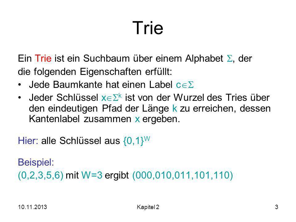 10.11.2013Kapitel 23 Trie Ein Trie ist ein Suchbaum über einem Alphabet, der die folgenden Eigenschaften erfüllt: Jede Baumkante hat einen Label c Jeder Schlüssel x k ist von der Wurzel des Tries über den eindeutigen Pfad der Länge k zu erreichen, dessen Kantenlabel zusammen x ergeben.
