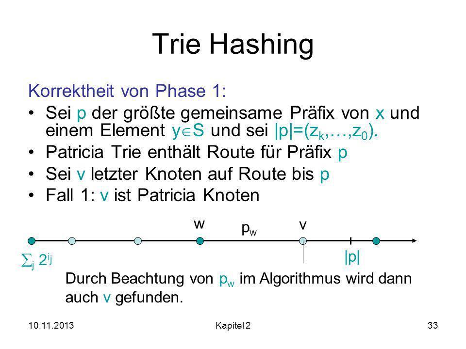 10.11.2013Kapitel 233 Trie Hashing Korrektheit von Phase 1: Sei p der größte gemeinsame Präfix von x und einem Element y S und sei |p|=(z k,…,z 0 ).