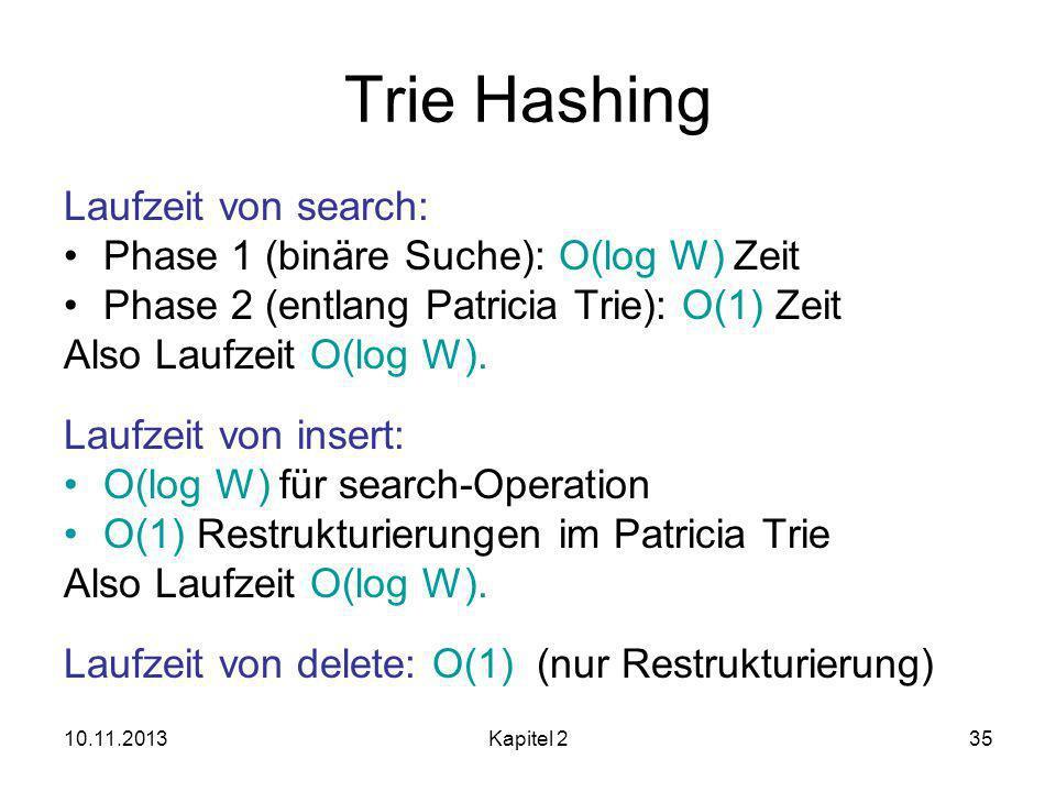10.11.2013Kapitel 235 Trie Hashing Laufzeit von search: Phase 1 (binäre Suche): O(log W) Zeit Phase 2 (entlang Patricia Trie): O(1) Zeit Also Laufzeit O(log W).