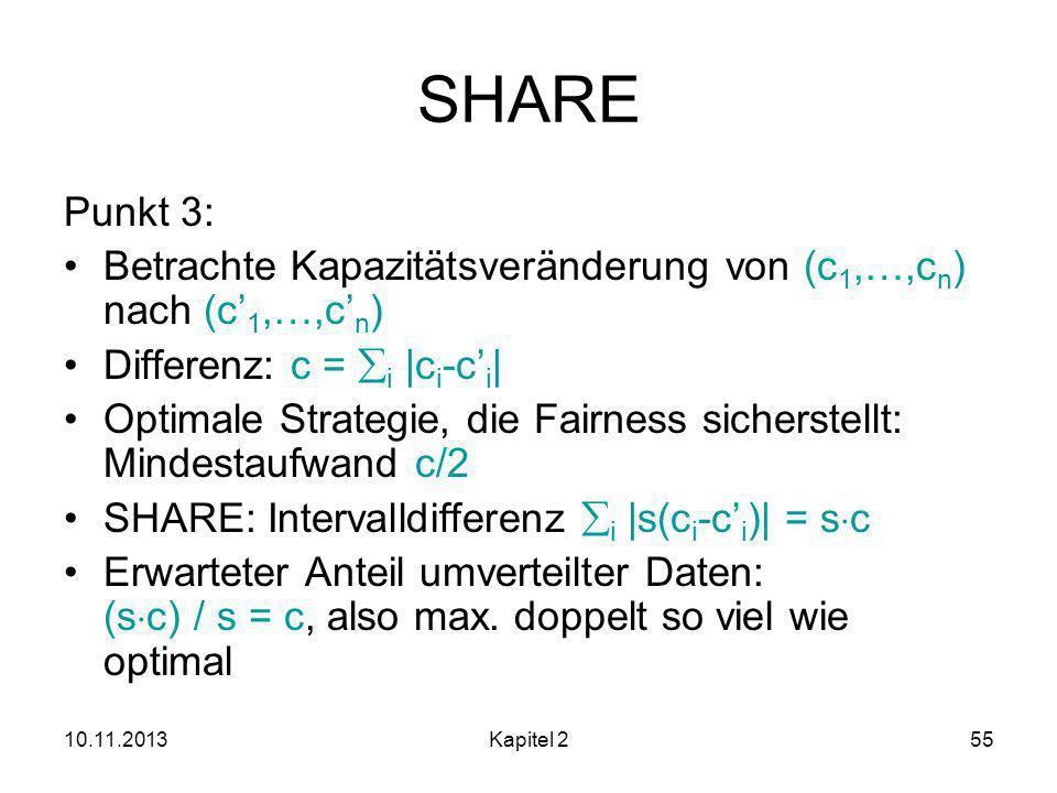10.11.2013Kapitel 255 SHARE Punkt 3: Betrachte Kapazitätsveränderung von (c 1,…,c n ) nach (c 1,…,c n ) Differenz: c = i |c i -c i | Optimale Strategie, die Fairness sicherstellt: Mindestaufwand c/2 SHARE: Intervalldifferenz i |s(c i -c i )| = s c Erwarteter Anteil umverteilter Daten: (s c) / s = c, also max.