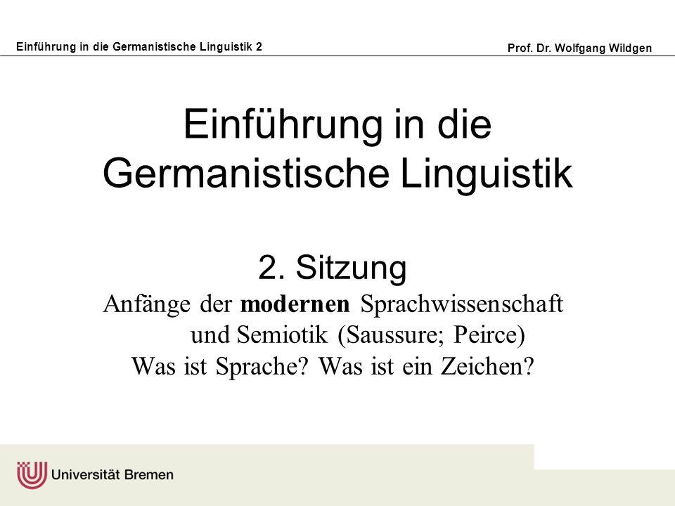 Einführung in die Germanistische Linguistik 2 Prof. Dr. Wolfgang Wildgen Einführung in die Germanistische Linguistik 2. Sitzung Anfänge der modernen S