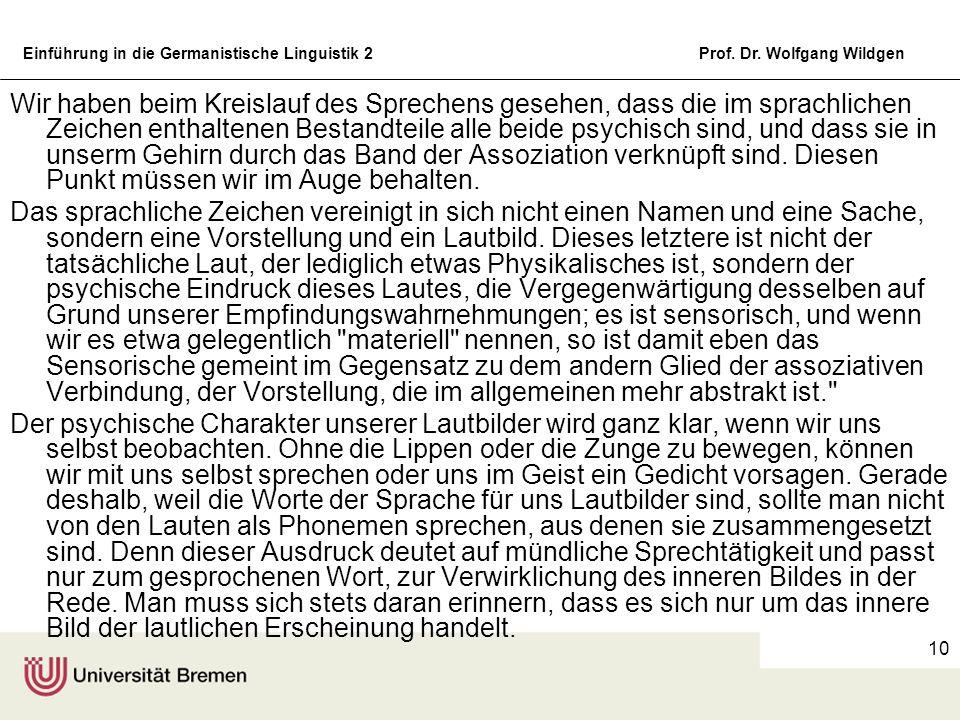 Einführung in die Germanistische Linguistik 2Prof. Dr. Wolfgang Wildgen 10 Wir haben beim Kreislauf des Sprechens gesehen, dass die im sprachlichen Ze