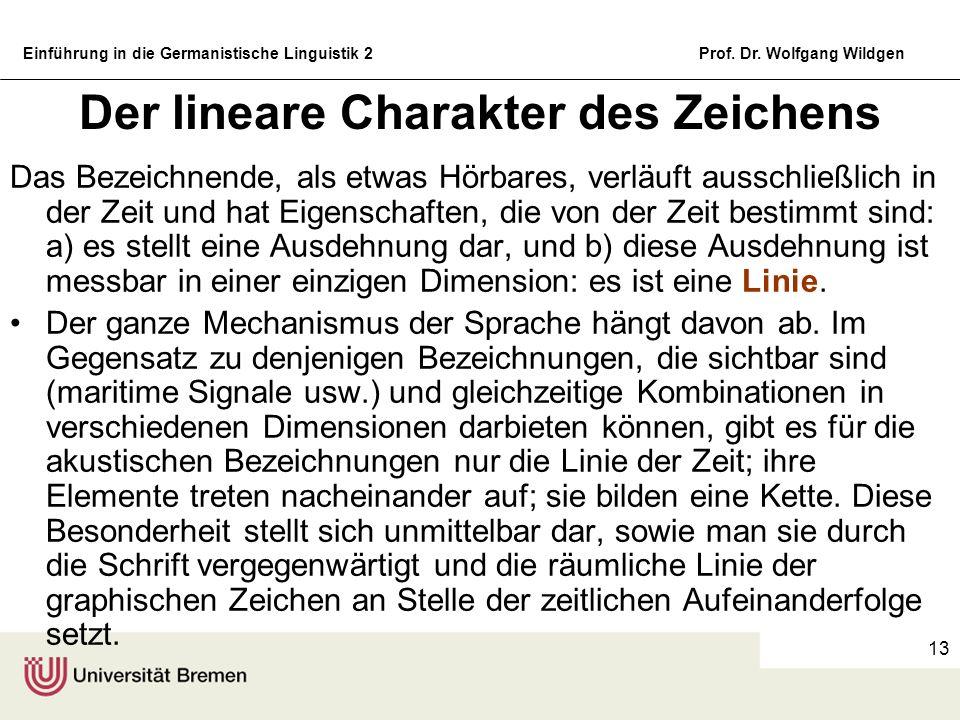 Einführung in die Germanistische Linguistik 2Prof. Dr. Wolfgang Wildgen 13 Der lineare Charakter des Zeichens Das Bezeichnende, als etwas Hörbares, ve