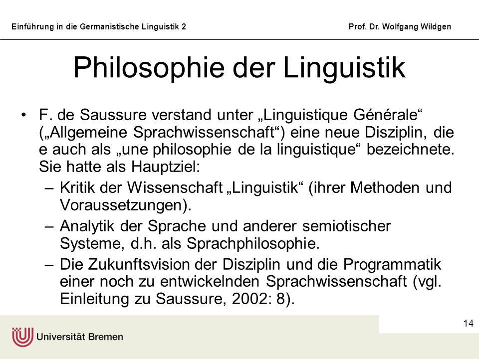 Einführung in die Germanistische Linguistik 2Prof. Dr. Wolfgang Wildgen 14 Philosophie der Linguistik F. de Saussure verstand unter Linguistique Génér