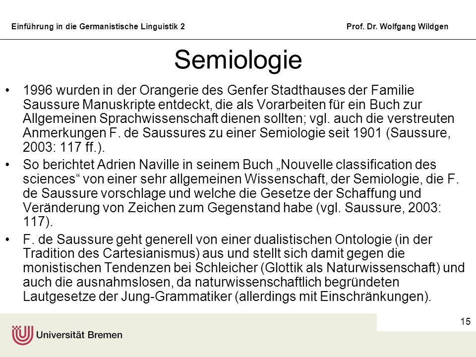 Einführung in die Germanistische Linguistik 2Prof. Dr. Wolfgang Wildgen 15 Semiologie 1996 wurden in der Orangerie des Genfer Stadthauses der Familie