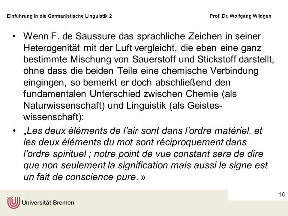 Einführung in die Germanistische Linguistik 2Prof. Dr. Wolfgang Wildgen 16 Wenn F. de Saussure das sprachliche Zeichen in seiner Heterogenität mit der