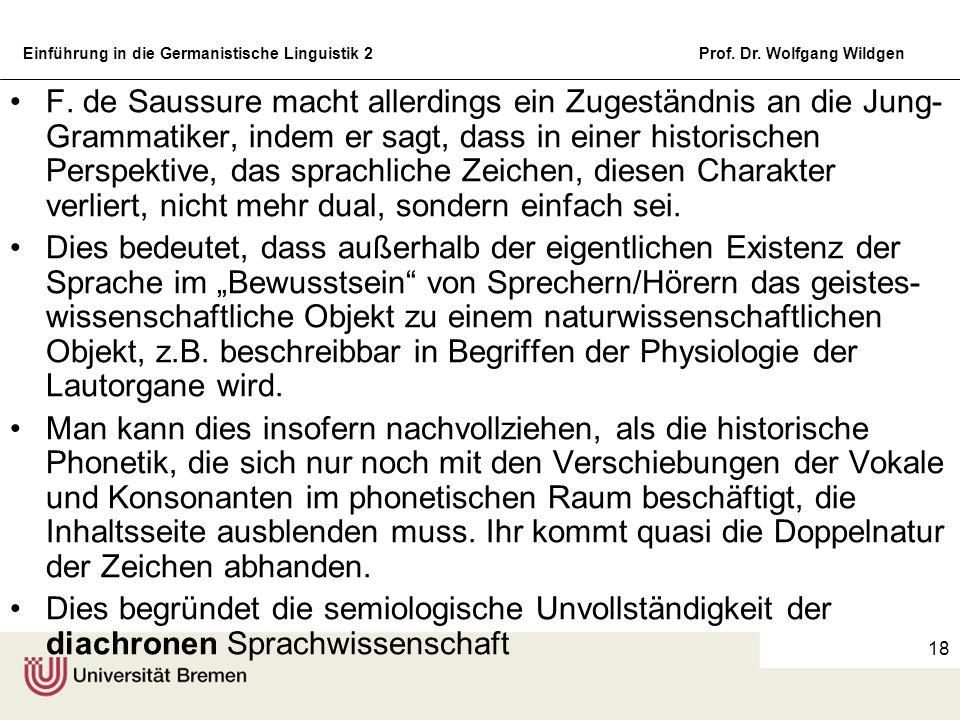 Einführung in die Germanistische Linguistik 2Prof. Dr. Wolfgang Wildgen 18 F. de Saussure macht allerdings ein Zugeständnis an die Jung- Grammatiker,