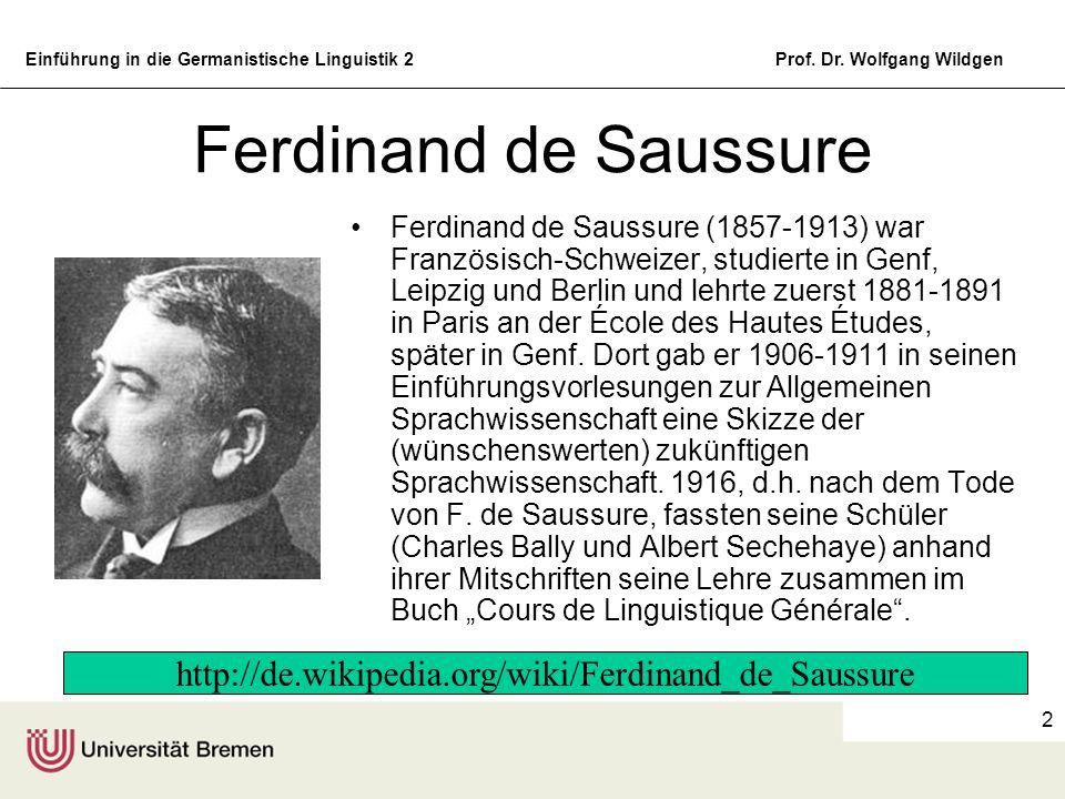 Einführung in die Germanistische Linguistik 2Prof. Dr. Wolfgang Wildgen 2 Ferdinand de Saussure Ferdinand de Saussure (1857-1913) war Französisch-Schw
