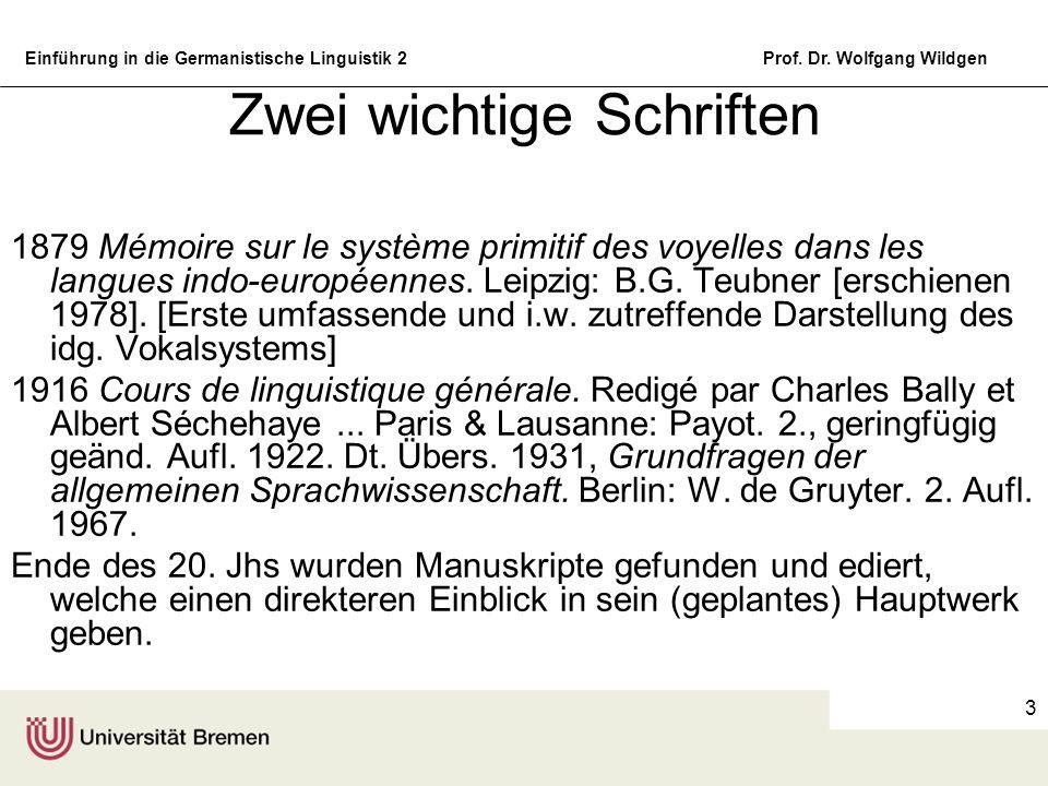 Einführung in die Germanistische Linguistik 2Prof. Dr. Wolfgang Wildgen 3 Zwei wichtige Schriften 1879 Mémoire sur le système primitif des voyelles da