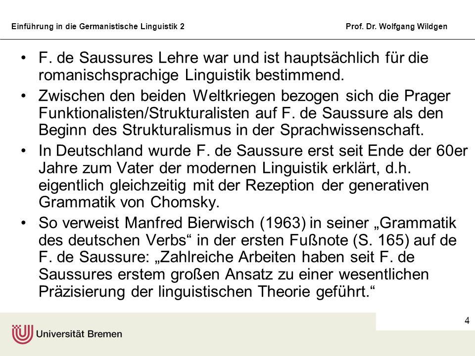 Einführung in die Germanistische Linguistik 2Prof. Dr. Wolfgang Wildgen 4 F. de Saussures Lehre war und ist hauptsächlich für die romanischsprachige L