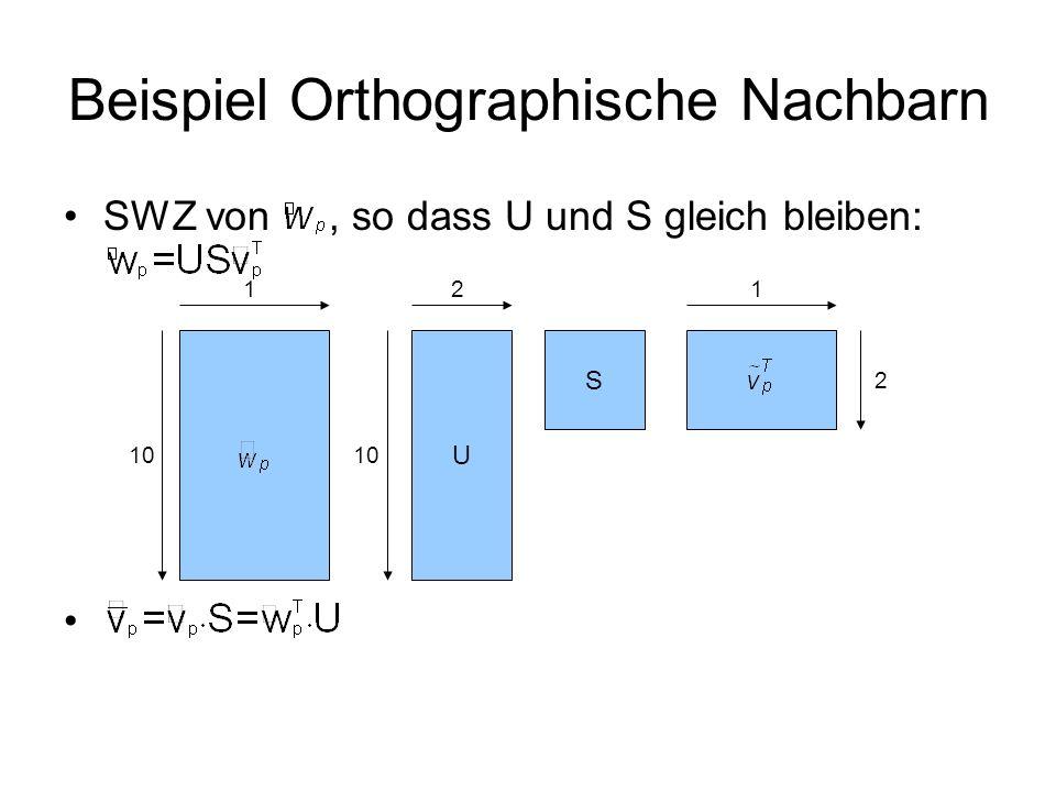 Beispiel Orthographische Nachbarn SWZ von, so dass U und S gleich bleiben: U S 10 11 2 2