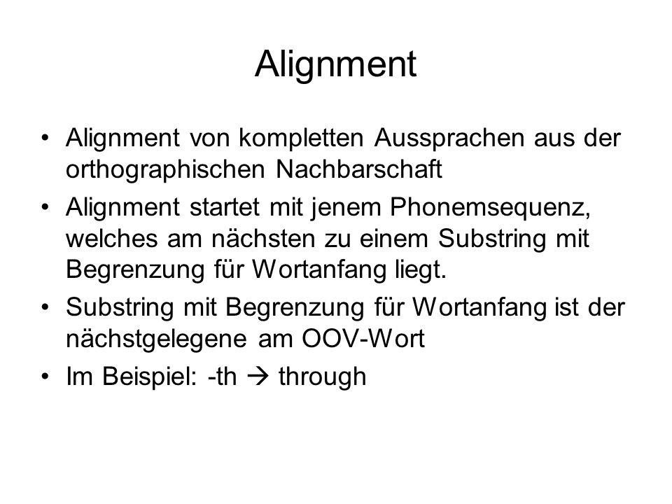 Alignment Alignment von kompletten Aussprachen aus der orthographischen Nachbarschaft Alignment startet mit jenem Phonemsequenz, welches am nächsten z