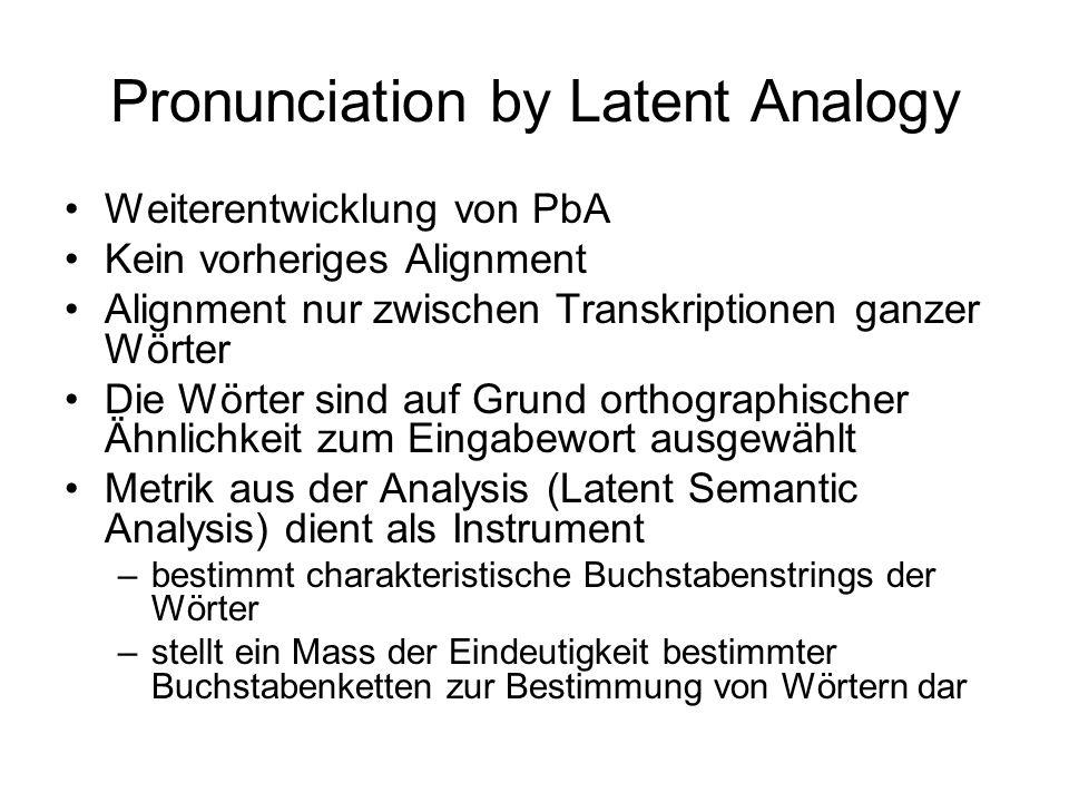 Alignment Modifizierter komplizierter Algorithmus aus Bioinformatik –Findet Gruppe von Proteinen innerhalb einer Proteinkette –Identifikation von Genen in der DNA Seien φ 1...φ k...φ K und ψ 1...ψ l...ψ L Phonemstrings A(k,l) sind minimalen Kosten vom Alignment zwischen φ 1...φ k und ψ 1...ψ l C(k,l) sind Kosten für das Austauschen der Phoneme φ k und ψ l