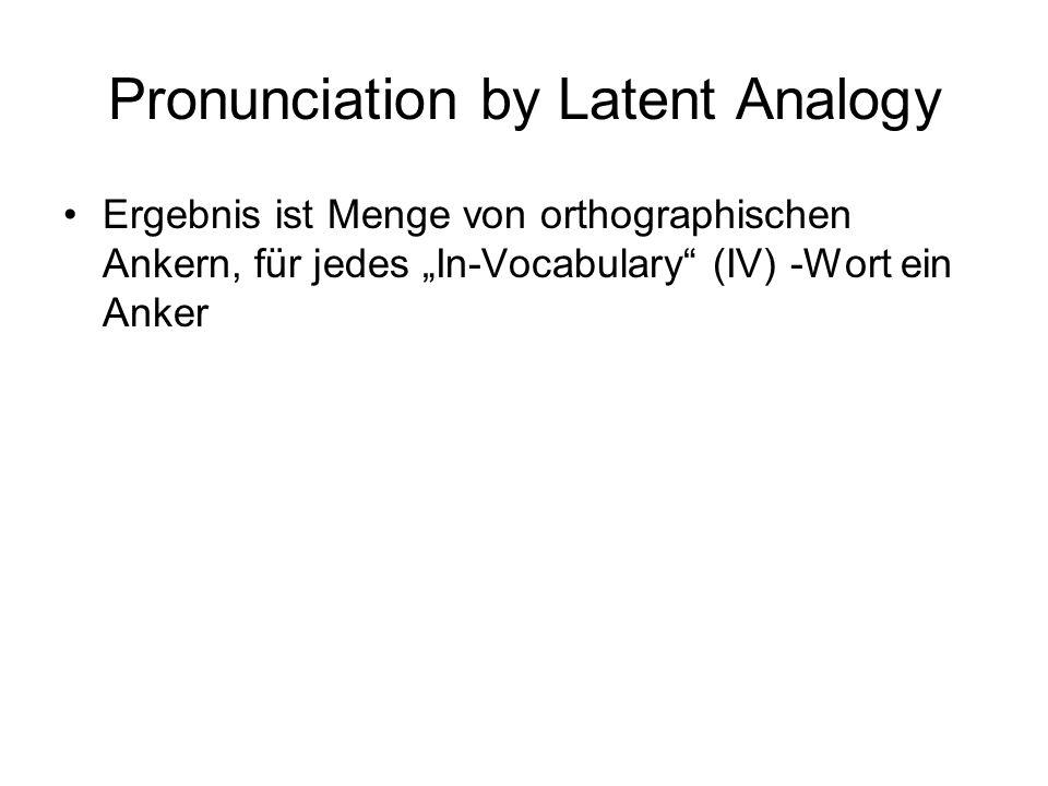 Orthographische Nachbarn V sei Menge der IV-Wörter,  V  = M T sei Menge der Substrings mit Länge n,  T  = N - steht für Wortanfang und -ende, gilt als Buchstabe mit Länge 1 (N x M) Matrix W N Zeilen, i-te Zeile für i-ten Substring t i M Spalten, j-te Spalte für j-tes Word v j