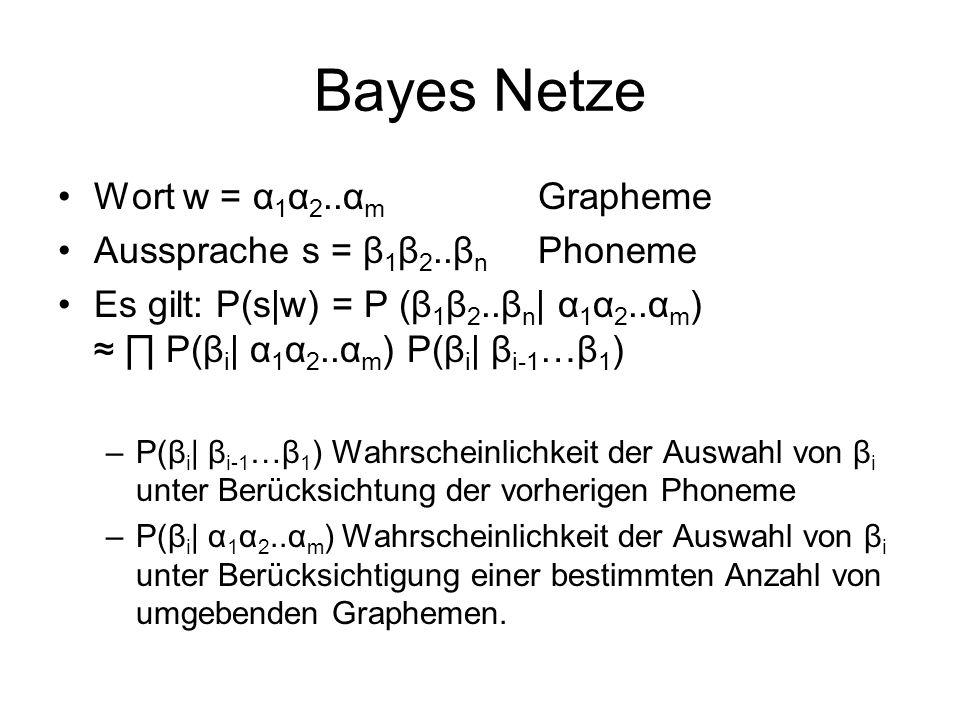 Bayes Netze Wort w = α 1 α 2..α m Grapheme Aussprache s = β 1 β 2..β n Phoneme Es gilt: P(s w) = P (β 1 β 2..β n   α 1 α 2..α m ) P(β i   α 1 α 2..α m ) P(β i   β i-1 …β 1 ) –P(β i   β i-1 …β 1 ) Wahrscheinlichkeit der Auswahl von β i unter Berücksichtung der vorherigen Phoneme –P(β i   α 1 α 2..α m ) Wahrscheinlichkeit der Auswahl von β i unter Berücksichtigung einer bestimmten Anzahl von umgebenden Graphemen.