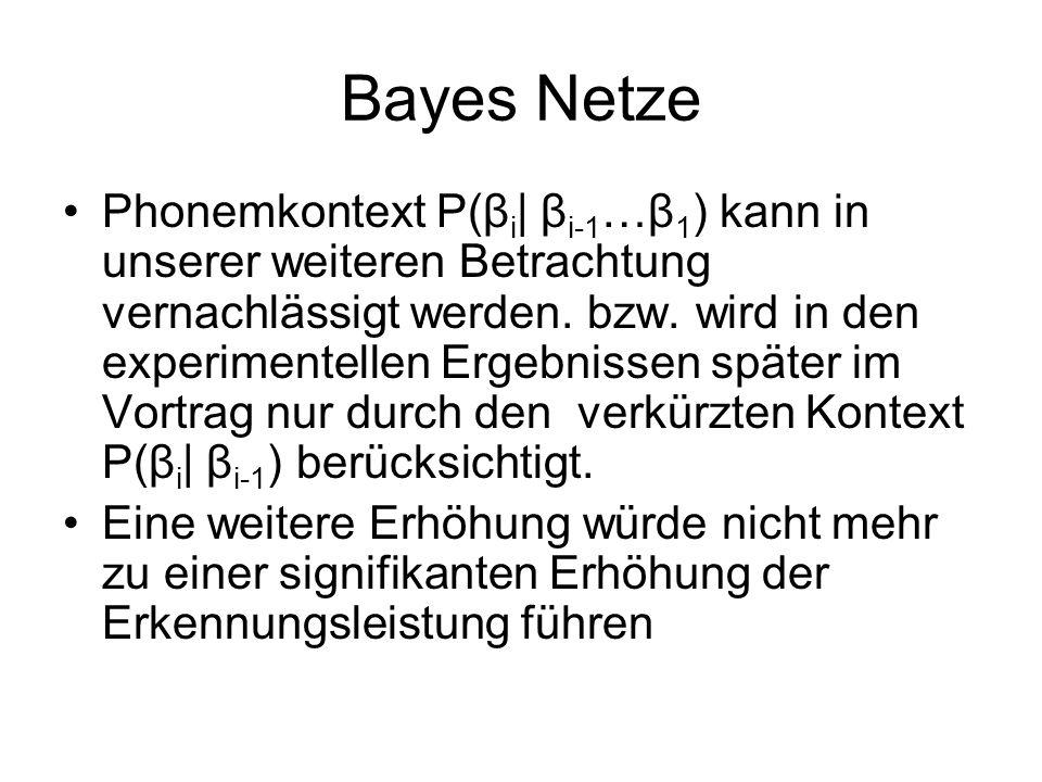 Bayes Netze Phonemkontext P(β i   β i-1 …β 1 ) kann in unserer weiteren Betrachtung vernachlässigt werden.