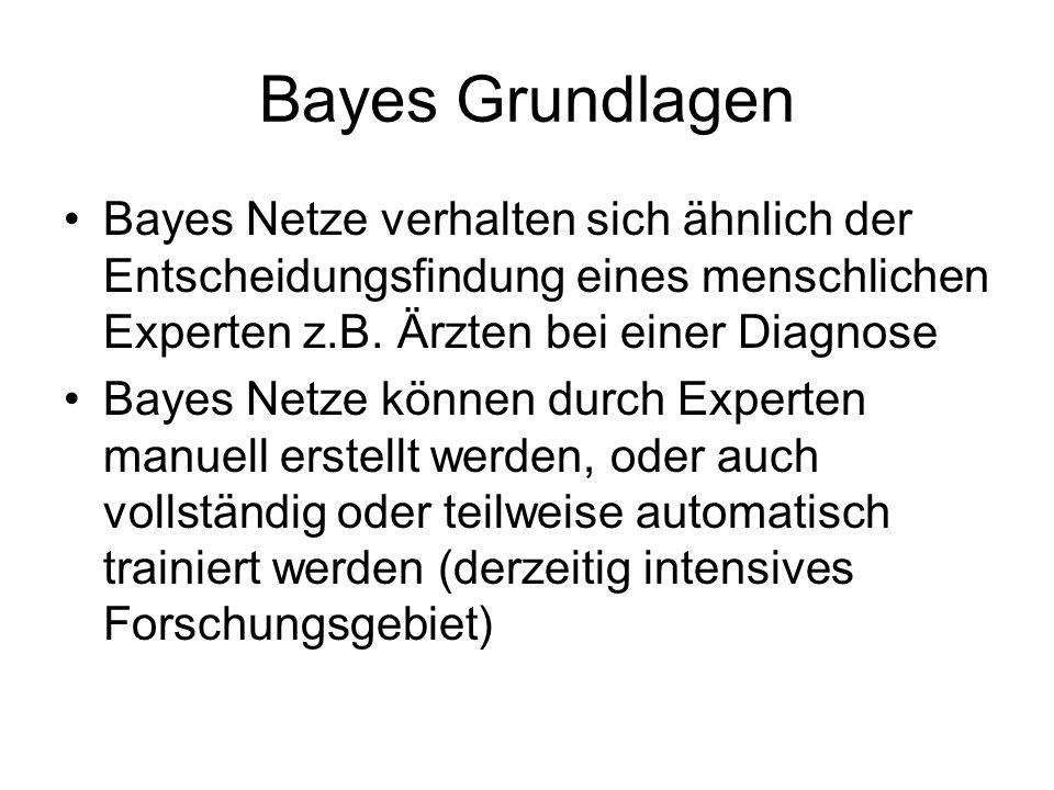 Bayes Grundlagen Bayes Netze verhalten sich ähnlich der Entscheidungsfindung eines menschlichen Experten z.B.
