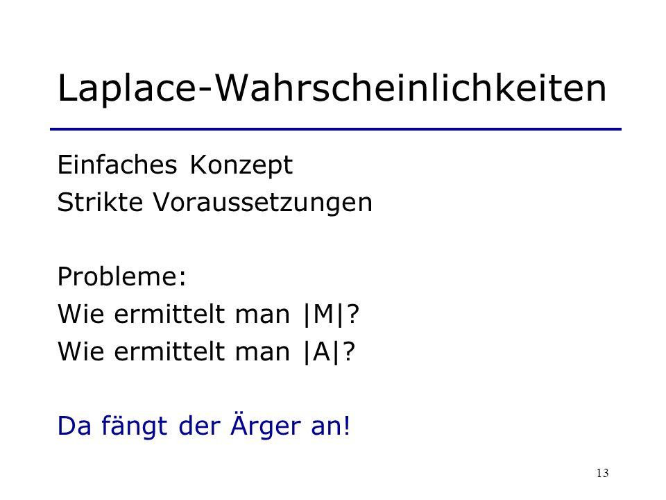 13 Laplace-Wahrscheinlichkeiten Einfaches Konzept Strikte Voraussetzungen Probleme: Wie ermittelt man |M|? Wie ermittelt man |A|? Da fängt der Ärger a