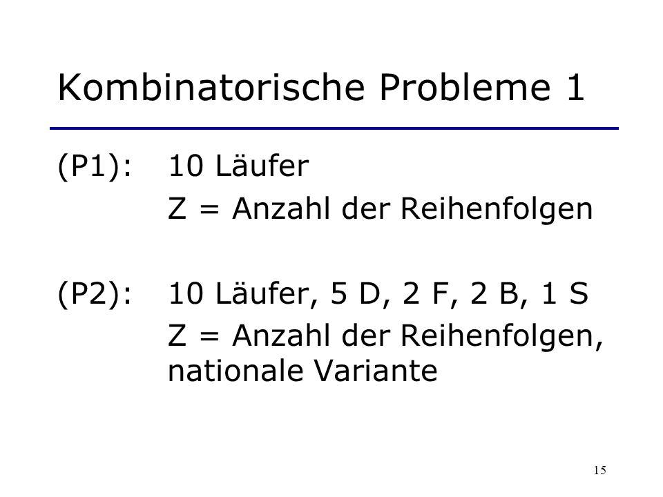 15 Kombinatorische Probleme 1 (P1): 10 Läufer Z = Anzahl der Reihenfolgen (P2): 10 Läufer, 5 D, 2 F, 2 B, 1 S Z = Anzahl der Reihenfolgen, nationale V