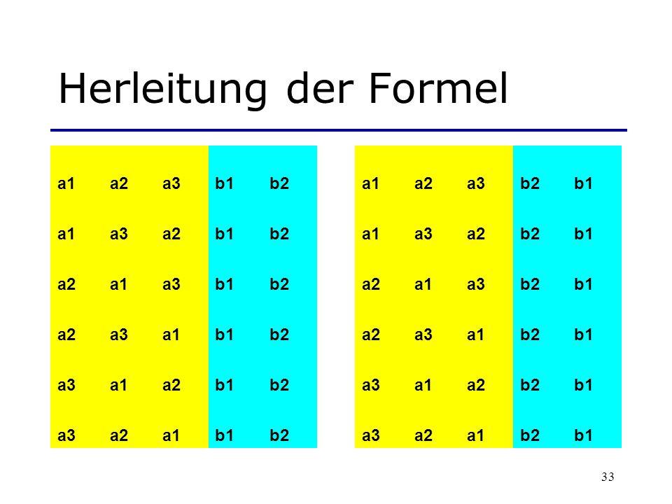 33 Herleitung der Formel a1a2a3b1b2a1a2a3b2b1 a1a3a2b1b2a1a3a2b2b1 a2a1a3b1b2a2a1a3b2b1 a2a3a1b1b2a2a3a1b2b1 a3a1a2b1b2a3a1a2b2b1 a3a2a1b1b2a3a2a1b2b1