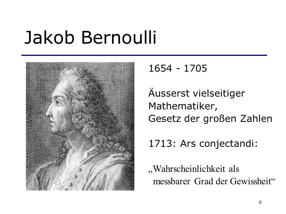9 Jakob Bernoulli 1654 - 1705 Äusserst vielseitiger Mathematiker, Gesetz der großen Zahlen 1713: Ars conjectandi: Wahrscheinlichkeit als messbarer Gra