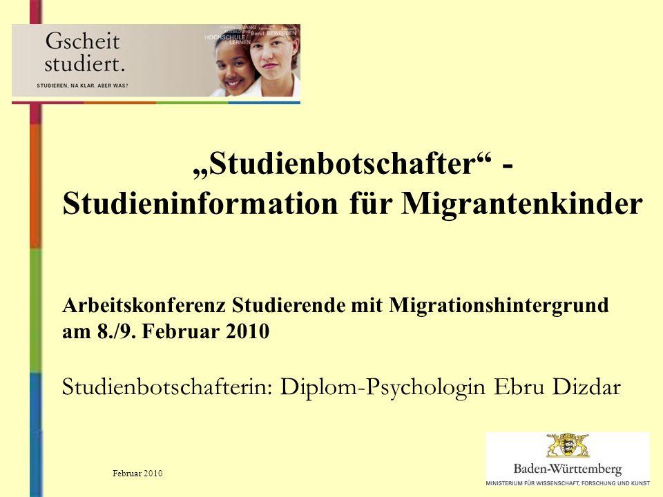 Studienbotschafter - Studieninformation für Migrantenkinder Arbeitskonferenz Studierende mit Migrationshintergrund am 8./9.