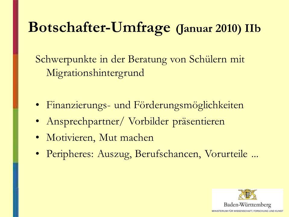 Botschafter-Umfrage (Januar 2010) IIb Schwerpunkte in der Beratung von Schülern mit Migrationshintergrund Finanzierungs- und Förderungsmöglichkeiten Ansprechpartner/ Vorbilder präsentieren Motivieren, Mut machen Peripheres: Auszug, Berufschancen, Vorurteile...