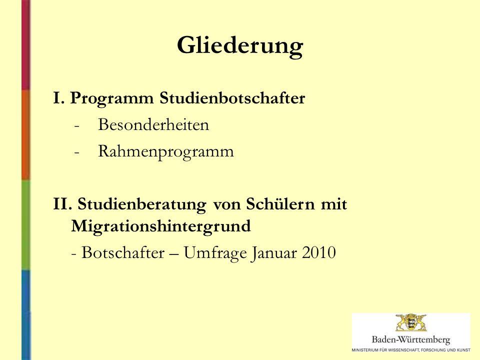 Gliederung I. Programm Studienbotschafter -Besonderheiten -Rahmenprogramm II.