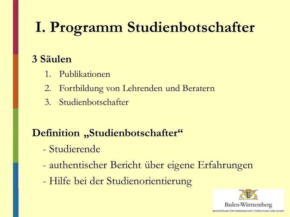 I. Programm Studienbotschafter 3 Säulen 1.Publikationen 2.Fortbildung von Lehrenden und Beratern 3.Studienbotschafter Definition Studienbotschafter -