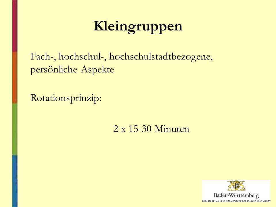 Kleingruppen Fach-, hochschul-, hochschulstadtbezogene, persönliche Aspekte Rotationsprinzip: 2 x 15-30 Minuten