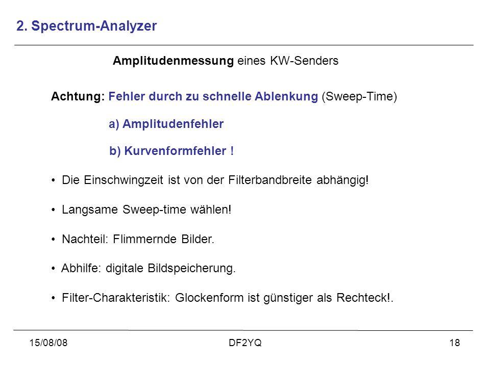 15/08/08DF2YQ18 Amplitudenmessung eines KW-Senders Die Einschwingzeit ist von der Filterbandbreite abhängig! Langsame Sweep-time wählen! Nachteil: Fli
