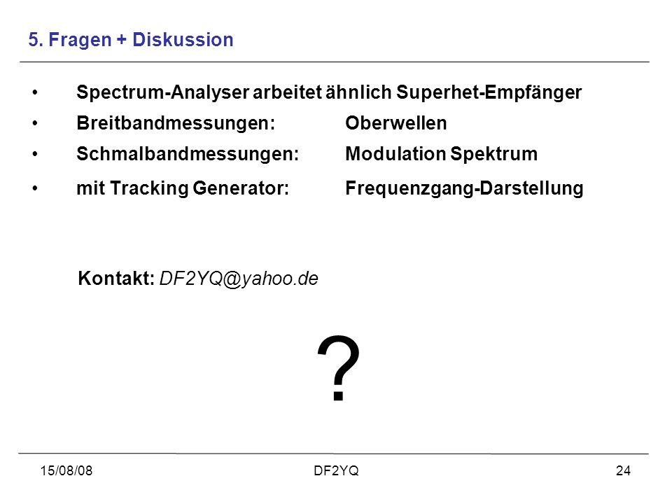 15/08/08DF2YQ24 Spectrum-Analyser arbeitet ähnlich Superhet-Empfänger Breitbandmessungen: Oberwellen Schmalbandmessungen: Modulation Spektrum mit Trac