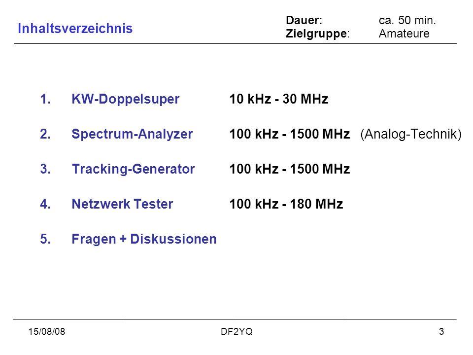 15/08/08DF2YQ3 1.KW-Doppelsuper 10 kHz - 30 MHz 2.Spectrum-Analyzer100 kHz - 1500 MHz (Analog-Technik) 3.Tracking-Generator100 kHz - 1500 MHz 4.Netzwe