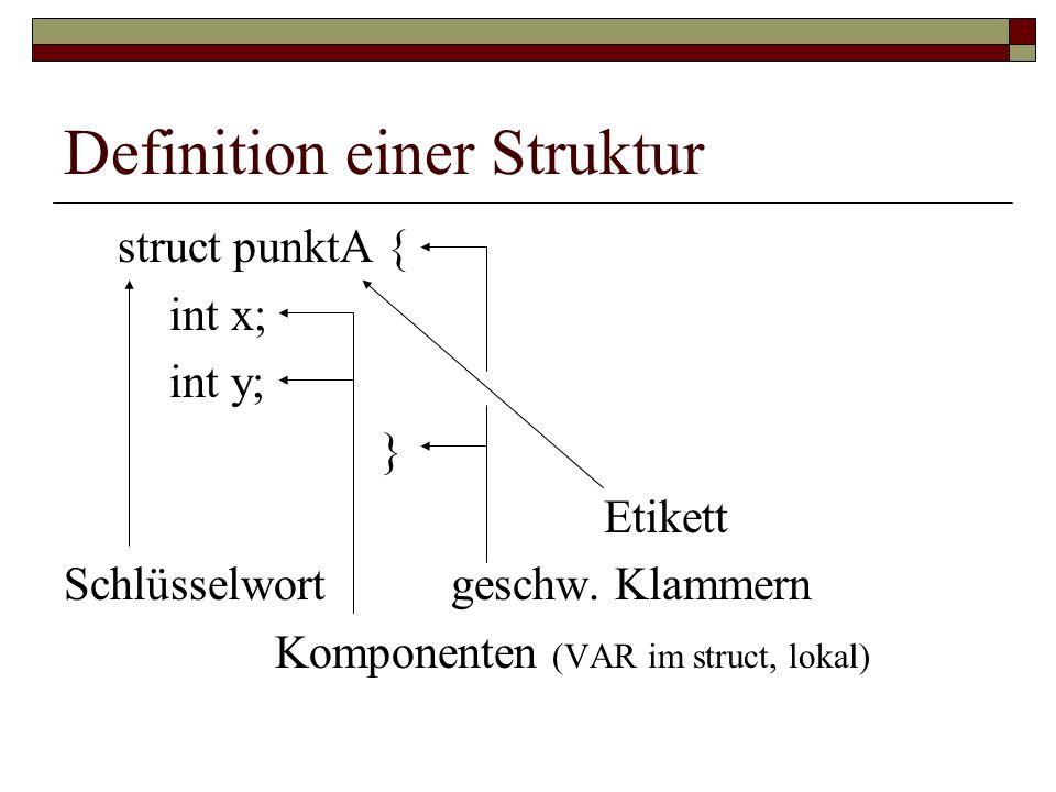 Definition einer Struktur struct punktA { int x; int y; } Etikett Schlüsselwort geschw. Klammern Komponenten (VAR im struct, lokal)