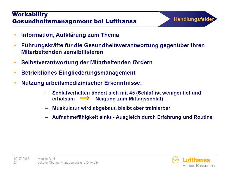 02.07.2007Monika Rühl 24Leiterin Change Management und DIversity Workability – Gesundheitsmanagement bei Lufthansa Information, Aufklärung zum Thema F
