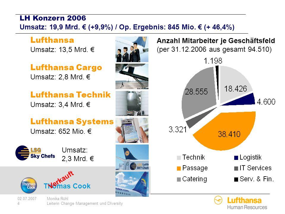 02.07.2007Monika Rühl 4Leiterin Change Management und DIversity Thomas Cook Lufthansa Umsatz: 13,5 Mrd. Lufthansa Cargo Umsatz: 2,8 Mrd. Lufthansa Tec