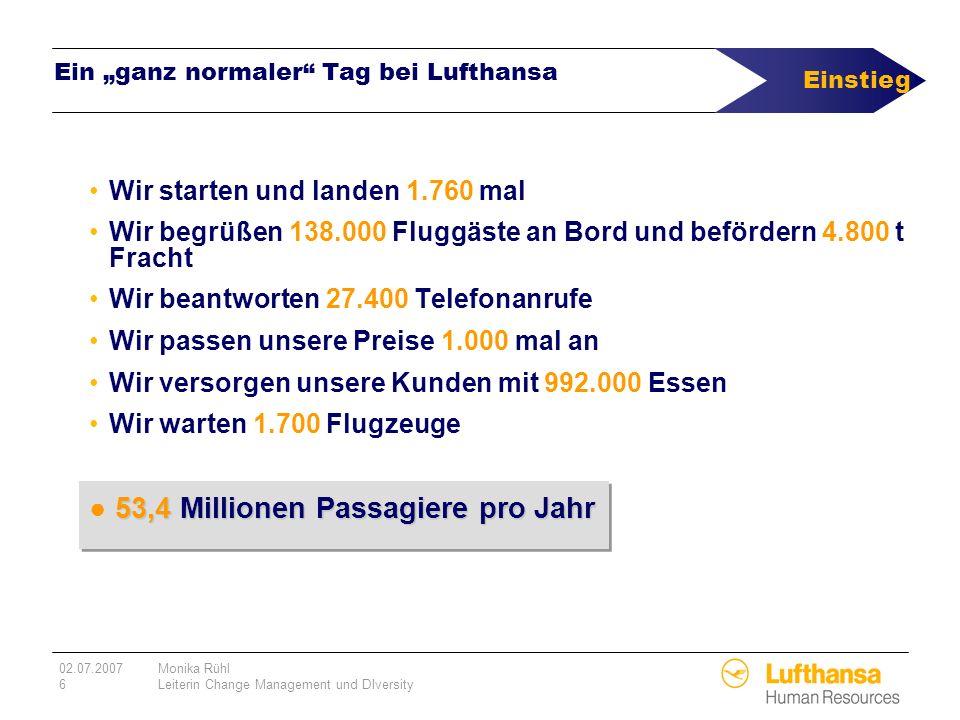 02.07.2007Monika Rühl 6Leiterin Change Management und DIversity Ein ganz normaler Tag bei Lufthansa Wir starten und landen 1.760 mal Wir begrüßen 138.