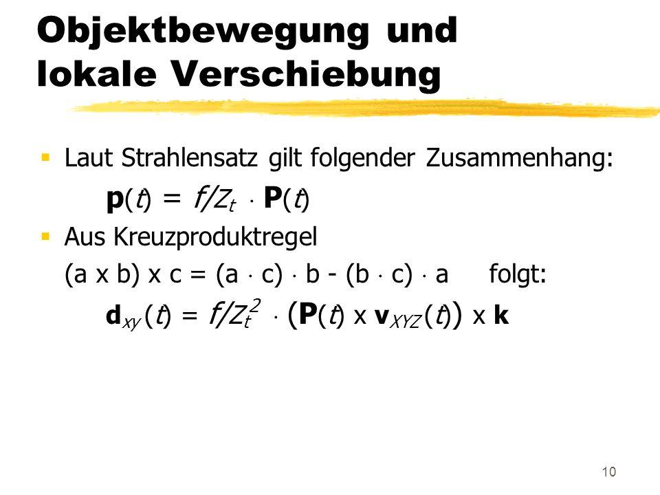 10 Objektbewegung und lokale Verschiebung Laut Strahlensatz gilt folgender Zusammenhang: p (t) = f/ Z t P (t) Aus Kreuzproduktregel (a x b) x c = (a c