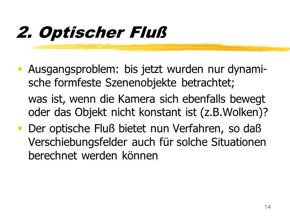 14 2. Optischer Fluß Ausgangsproblem: bis jetzt wurden nur dynami- sche formfeste Szenenobjekte betrachtet; was ist, wenn die Kamera sich ebenfalls be