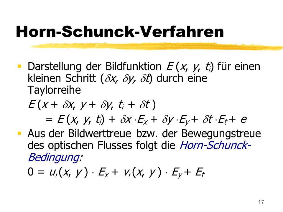 17 Horn-Schunck-Verfahren Darstellung der Bildfunktion E (x, y, t i ) für einen kleinen Schritt ( x, y, t) durch eine Taylorreihe E (x + x, y + y, t i