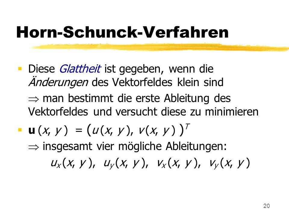 20 Horn-Schunck-Verfahren Diese Glattheit ist gegeben, wenn die Änderungen des Vektorfeldes klein sind man bestimmt die erste Ableitung des Vektorfeld