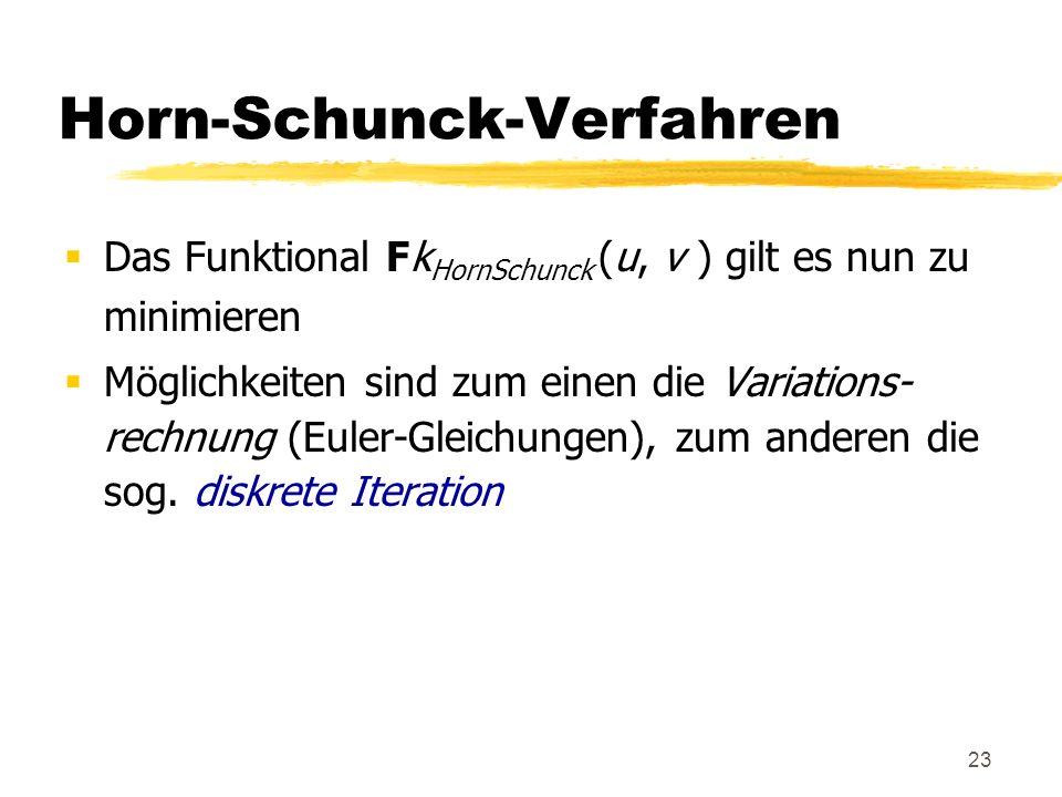 23 Horn-Schunck-Verfahren Das Funktional Fk HornSchunck (u, v ) gilt es nun zu minimieren Möglichkeiten sind zum einen die Variations- rechnung (Euler