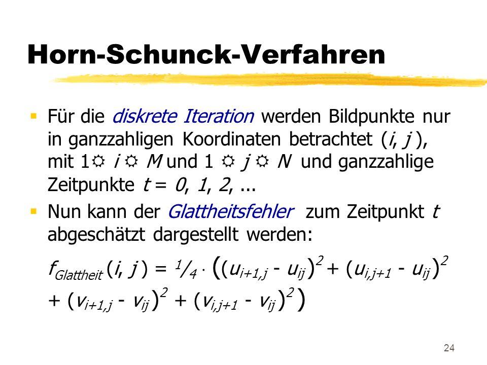 24 Horn-Schunck-Verfahren Für die diskrete Iteration werden Bildpunkte nur in ganzzahligen Koordinaten betrachtet (i, j ), mit 1 i M und 1 j N und gan