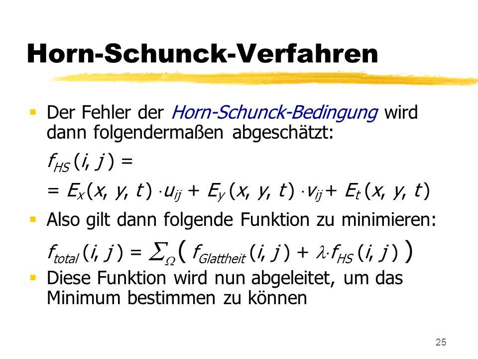 25 Horn-Schunck-Verfahren Der Fehler der Horn-Schunck-Bedingung wird dann folgendermaßen abgeschätzt: f HS (i, j ) = = E x (x, y, t ) u ij + E y (x, y