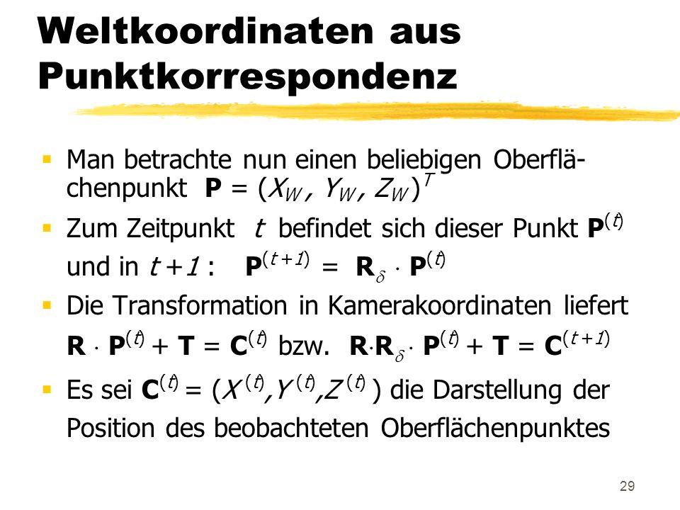 29 Weltkoordinaten aus Punktkorrespondenz Man betrachte nun einen beliebigen Oberflä- chenpunkt P = (X W, Y W, Z W ) T Zum Zeitpunkt t befindet sich d