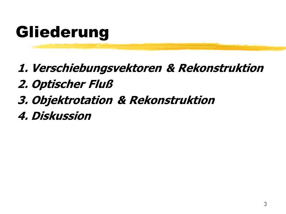 3 Gliederung 1. Verschiebungsvektoren & Rekonstruktion 2. Optischer Fluß 3. Objektrotation & Rekonstruktion 4. Diskussion
