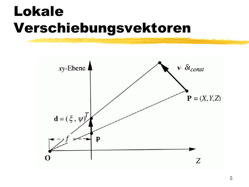 16 Lösungswege Bildwerttreue des optischen Flusses: E (x +u i (x, y ), y +v i (x, y ), t i+1 ) = E (x, y, t i ) (dies kann jedoch Algorithmen zur Vektorbe- rechnung von (u, v ) T nur gering unterstützen) Zielstellung ist, daß der optische Fluß der loka- len Verschiebung entspricht Bewegungstreue des optischen Flusses: xy (t i ) = u i (x, y ), xy (t i ) = v i (x, y )