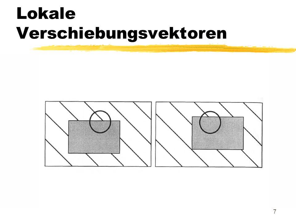 18 Horn-Schunck-Verfahren Für einen bestimmten Zeitpunkt der Bildfolge nimmt die Horn-Schunck-Bedingung die Form u E x + v E y = -E t bzw.