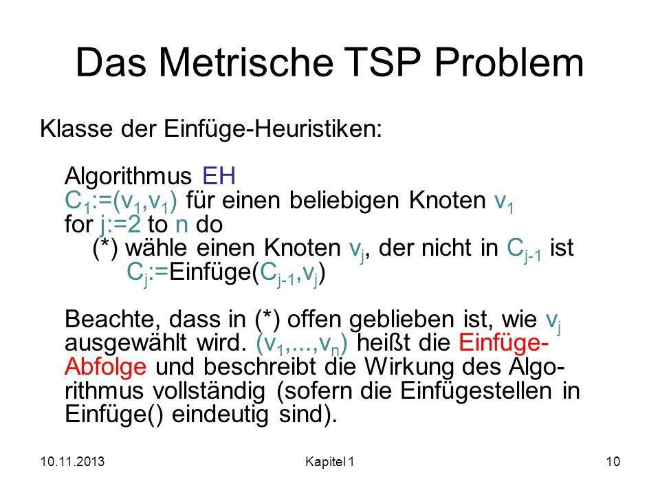 Das Metrische TSP Problem Klasse der Einfüge-Heuristiken: Algorithmus EH C 1 :=(v 1,v 1 ) für einen beliebigen Knoten v 1 for j:=2 to n do (*) wähle e