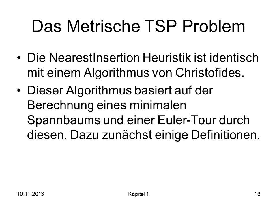 Das Metrische TSP Problem Die NearestInsertion Heuristik ist identisch mit einem Algorithmus von Christofides. Dieser Algorithmus basiert auf der Bere